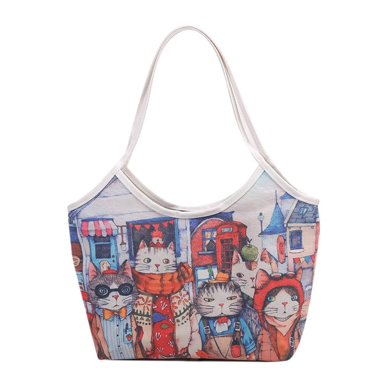 Women's Bags Large Capacity Canvas Bags Korean Version Women  shoulder  Bags Graffiti Street Handbags For Women