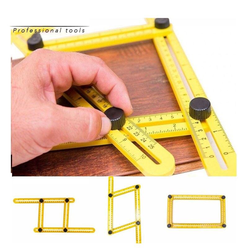 Пластиковая угловая линейка, четырехсторонняя линейка, мерный инструмент, шаблон, Угловой Инструмент, механизм, слайды