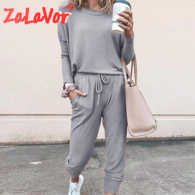 ZALAVOR, primavera 2020, traje para deporte y ocio, estampado en Color, exterior de larga distancia, traje con capucha, pantalones informales de mujer suaves de uso diario