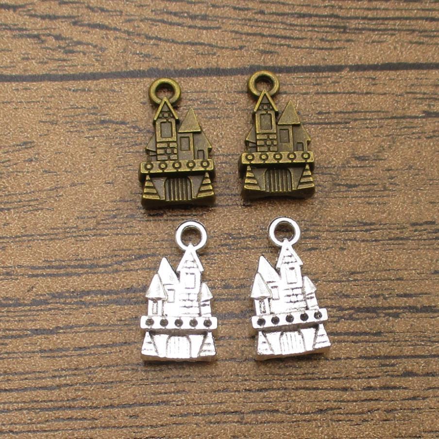 Medieval castelo encantos 20 pçs/lote 21 × 11mm casa real pingentes edifícios artesanal suprimentos de jóias 2 cor Available-RS193
