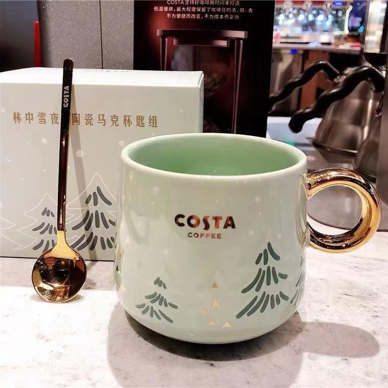 الذهب مقبض كوب سيراميك بسيط فنجان القهوة ملعقة مع ملعقة مج مياه كوب لطيف القط القدح فنجان القهوة فنجان شاي مجموعة