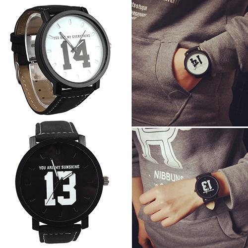 Men Women Couple Lover Number Dial Faux Leather relogio Quartz Matching Clock Wrist Watch couple wat