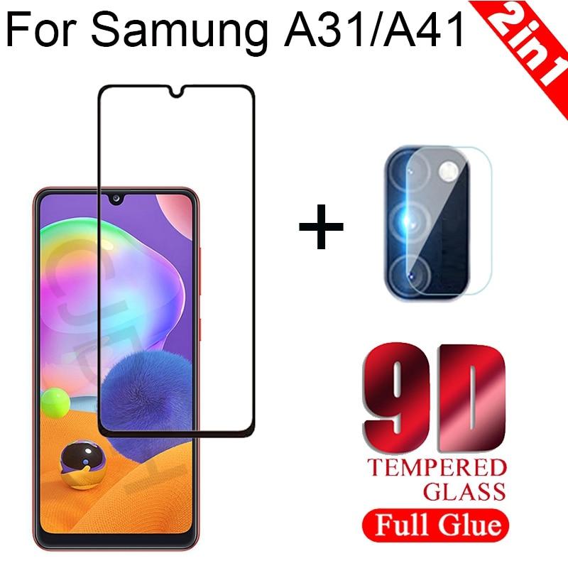 Cámara 2 en 1 + vidrio templado para Samsung Galaxy A31 A42 Protector de pantalla vidrio a prueba de explosiones en Samsung A41 vidrio Protector
