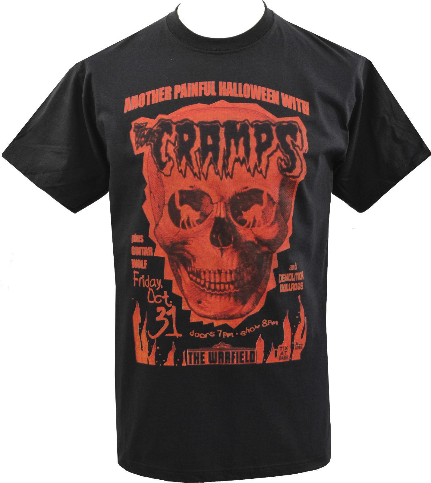 Camiseta de hombre THE CRAMPS HALLOWEEN SKULL LUX INTERIOR PSYCHOBILLY GARAGE S-5XL moda estilo hombres Tee envío gratis barato