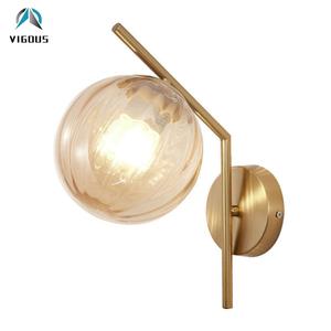 Nordic Simple Bedroom Led E27 Wall Lamp Gold Black Metal Lustre Globe Led Wall Scones Indoor Lighting Lamp Fixtures