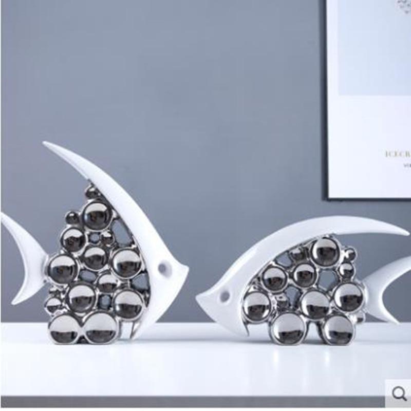 2020 European-style creative ceramic fish crafts, sea animal statue artwork, home office restaurant table decorations
