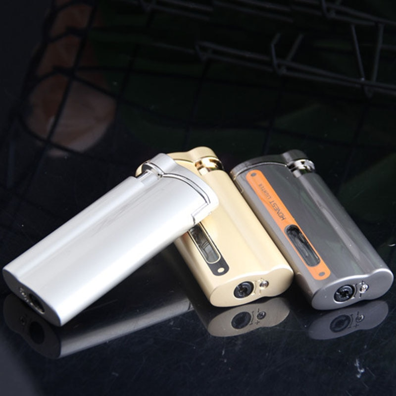 Fashion Red Torch Flame  Metal Windproof  Visible Gas Window Turbo Lighter Cigarette Ciga Accessories Gadgets For Men enlarge