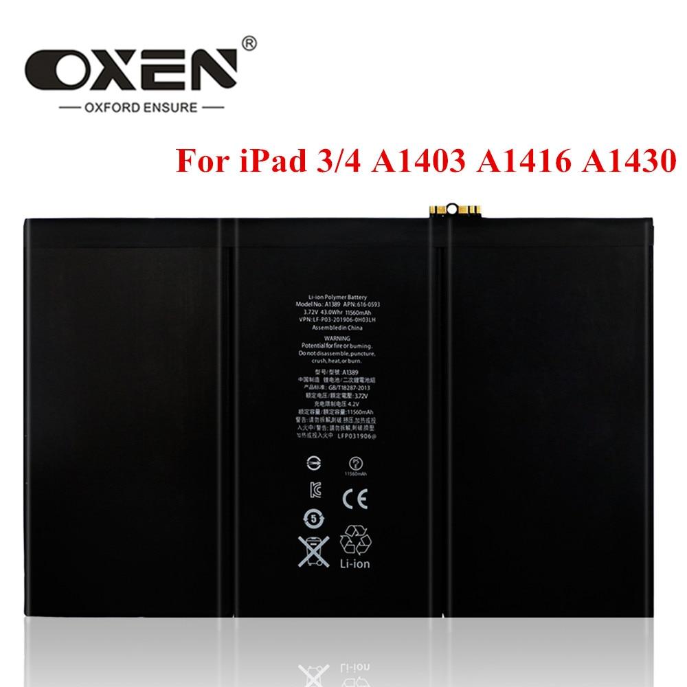 Bueyes 11560mAh A1389 Tablet para iPad 3 4 baterías de reemplazo de A1403 A1416 A1430 A1433 A1459 A1460 iPad3 iPad4 Bateria