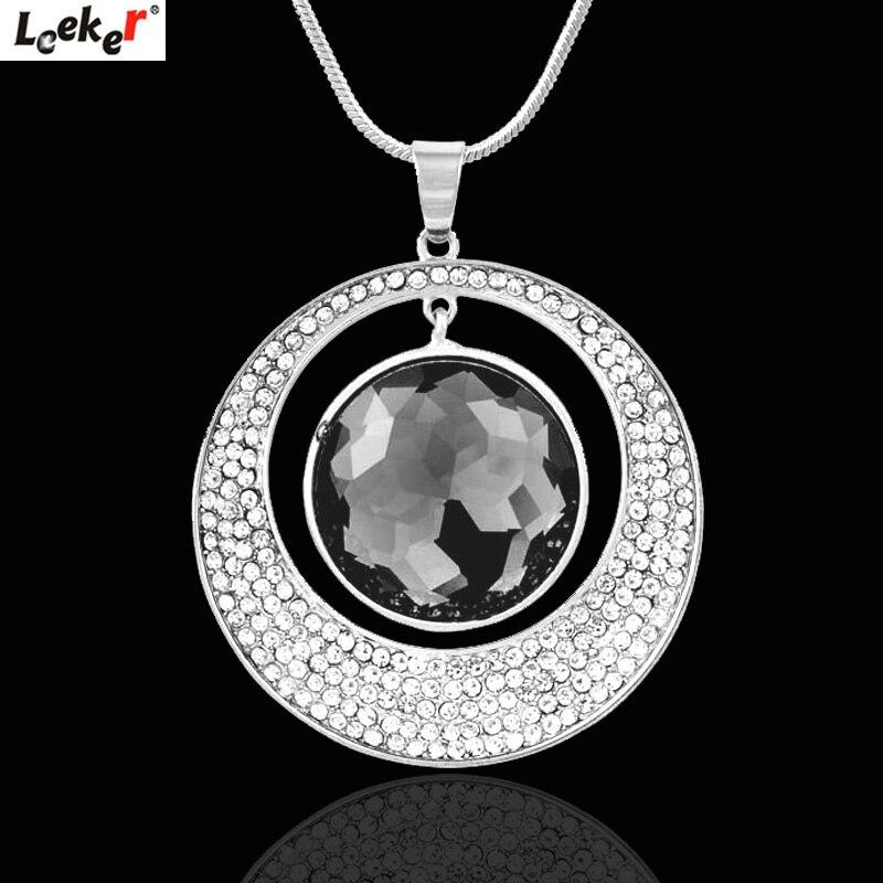 Leeker grande pedra redonda oco pingente colar de corrente longa feminino afirmação retro jóias 316 lk4