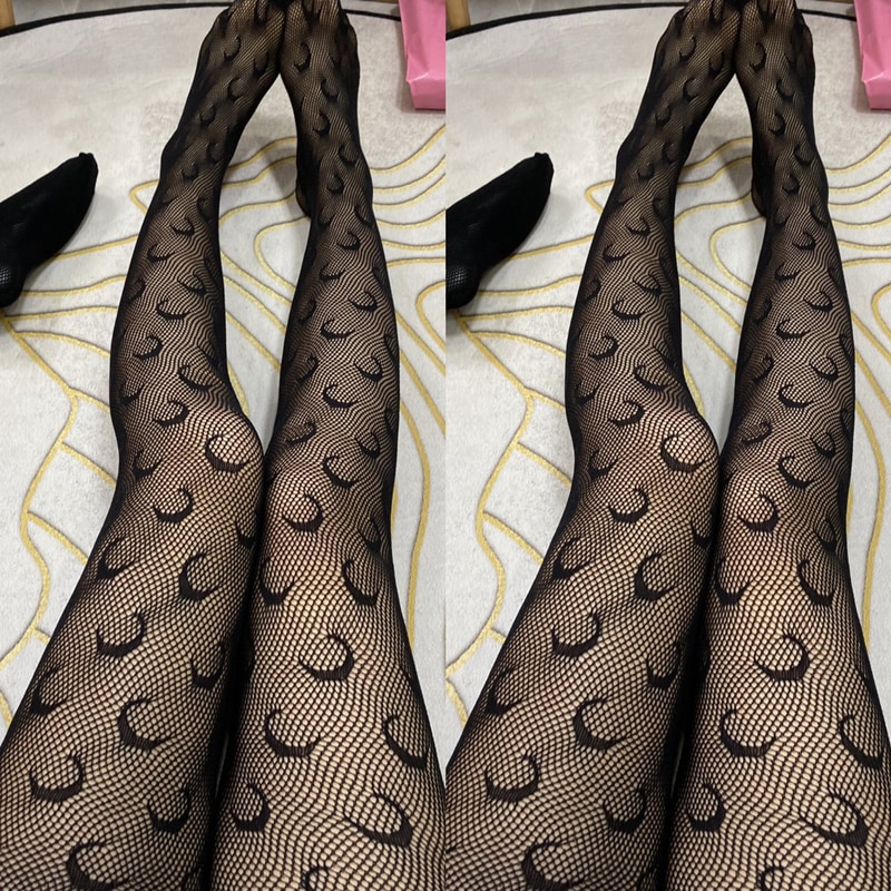 Spring Summer Fishnet Letter Tights Transparent Logo Tights Fashion Moon Pattern Thin Pantyhose Plus size Sexy Panty Collant