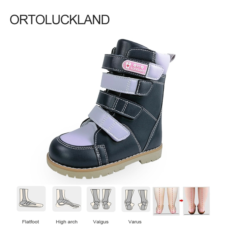 Ortoluckland Child Girls Boots Orthopedic Long Calf Footwear For Kids Toddler Flatfeet Clubfoot Shoes With Orthotic Arch Insoles