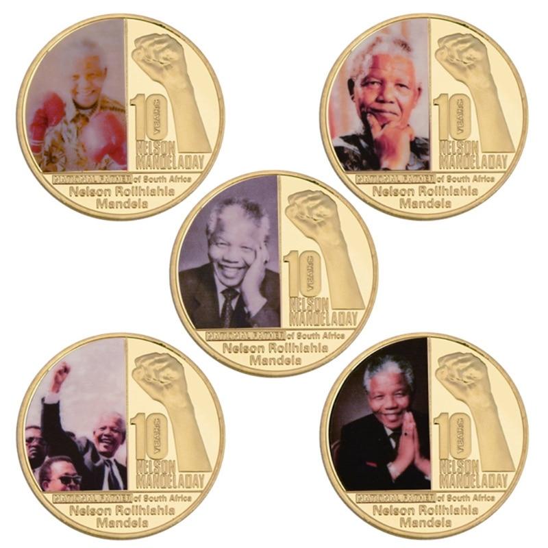 5 pièces/ensemble Mandela fête internationale pièces de monnaie artisanat en métal afrique du sud président plaqué or valeur Collection pièce
