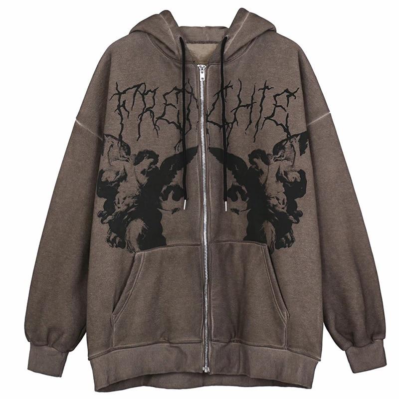 Vintage Angel Print Oversized Hoodies Female Zip Up Long Sleeve Women's Sweatshirt Y2K Aesthetic Autumn Winter Grunge Streetwear