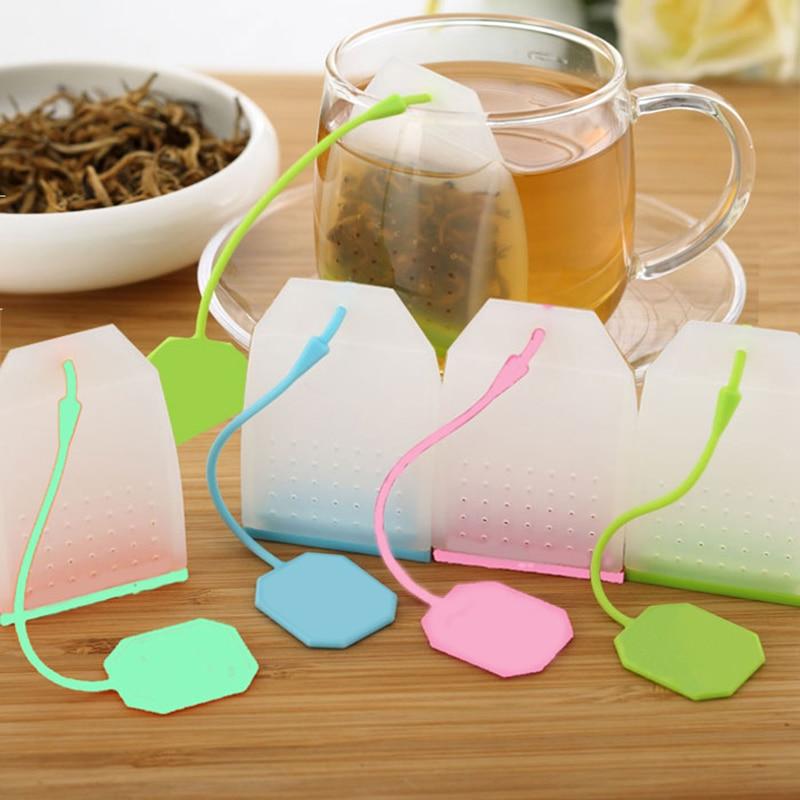 1pc comida-grau de silicone sacos de chá estilo colorido filtro de chá herbal solto infusor de chá filtros perfumados ferramentas de chá gadgets de cozinha