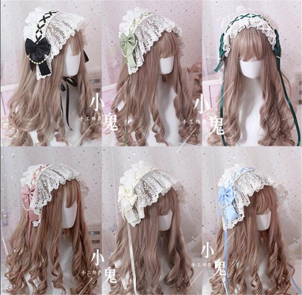 Annie pequeno-almoço cosplay doce lolita artesanal lolita bonnet laço bowknot pérola corrente princesa feminino retro headwear b565