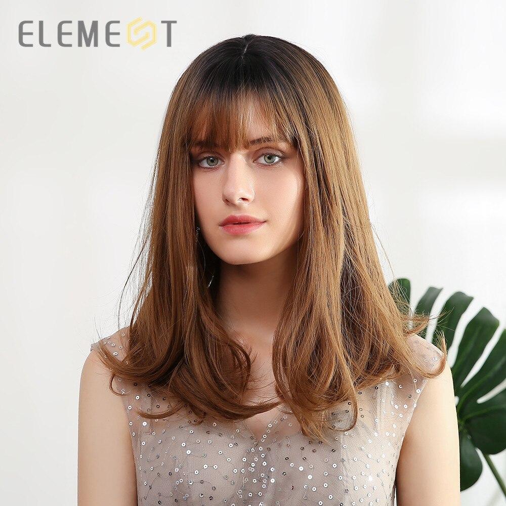 عنصر طويل أومبير براون باروكة شقراء مستقيم الاصطناعية خصلات الشعر المستعار مع بانج للنساء بوبو تصفيفة الشعر تأثيري الألياف الباروكات