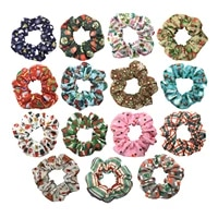 30pcs 15 colors christmas tree socks scrunchies wholesale snowman snowflakes printed ponytail holder girls hair band bracelet