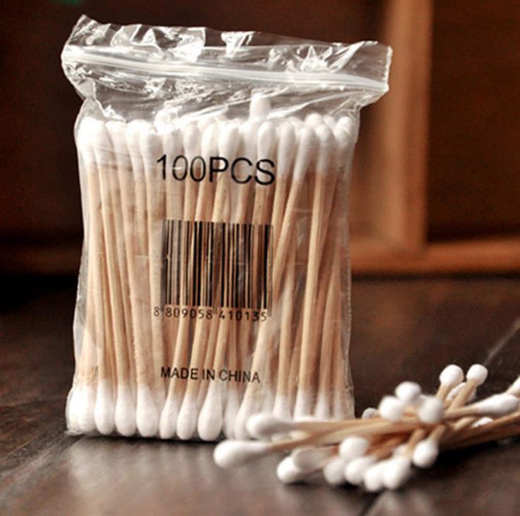 500bags 100pcs/bag Wood Cotton pads Health Makeup Cosmetics Ear Clean Cleaner makeup Cotton Swab Stick Buds SN1087