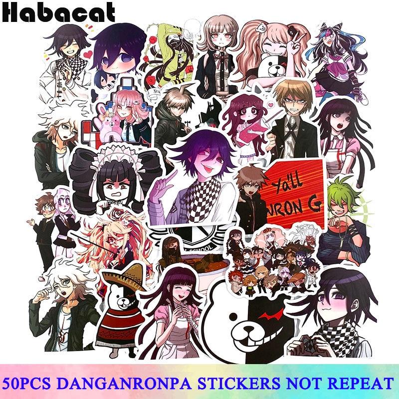 50 unids/set Danganronpa Sticker Graffiti para motocicleta Skateboard Laptop bicicleta tronco mochila pegatinas impermeables
