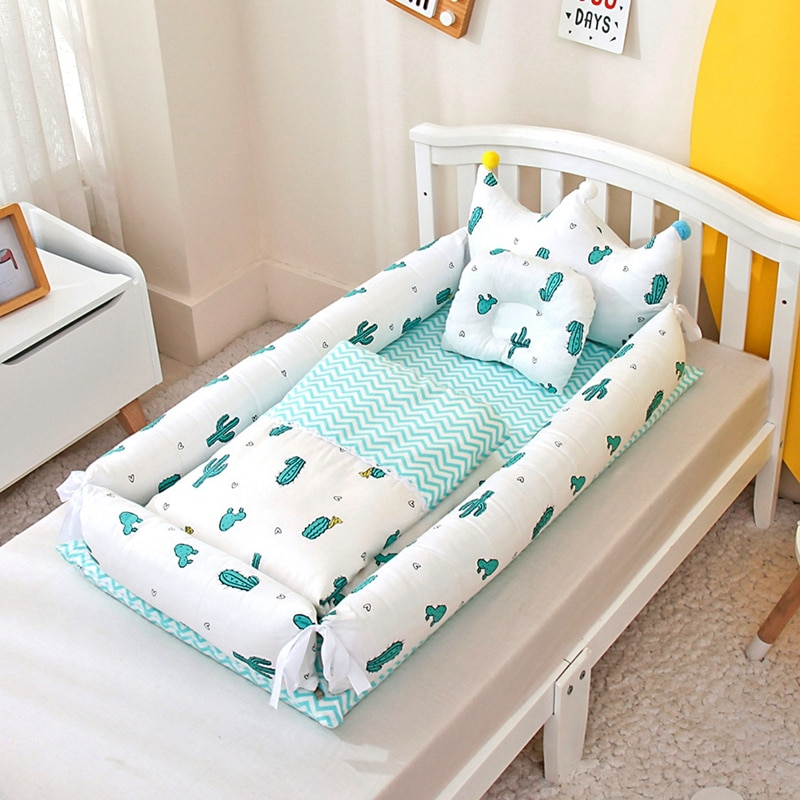 Baby Nest Bed with Pillow Portable Crib Travel Bed Infant Toddler Cotton Cradle for Newborn Baby Bed Bassinet Bumper with Quilt