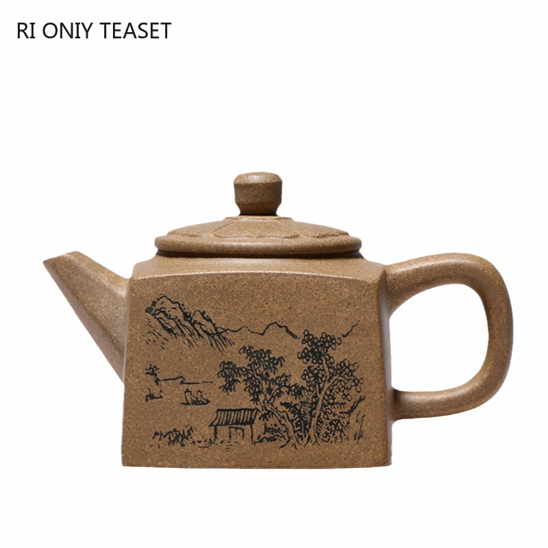 240 مللي Yixing ساحة الأرجواني الطين إبريق اليدوية الخام خام القسم الطين براد شاي الجمال غلاية الصينية الشهيرة Zisha طقم شاي هدايا