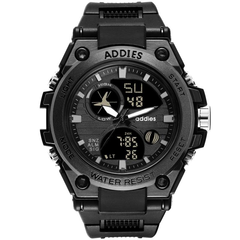 Addies relógio masculino preto esportes relógios de aço inoxidável banda analógico digital quartzo relógios de pulso reloj hombre relogio masculino