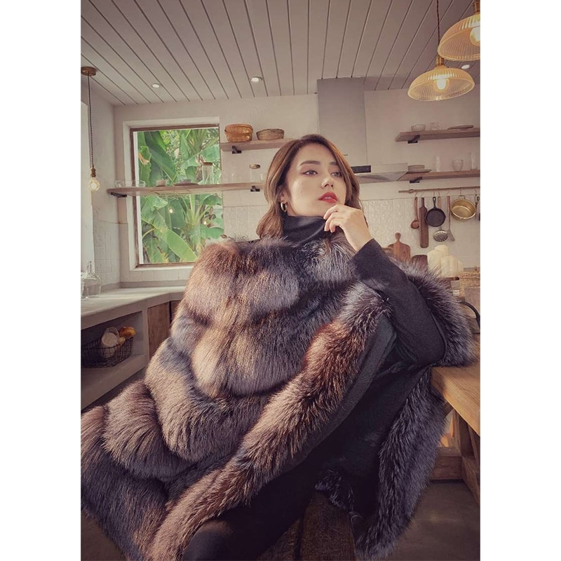 дождевик red fox poncho plus цвет серый 13985 размер универсальный FURSARCAR 2021 New Luxury Real Fox Fur Coat Women Winter Nature Silver Fox Fur Cape Plus Size Long Real Fur Poncho Jacket