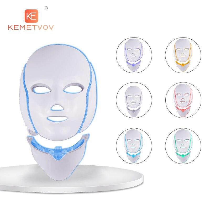7 ألوان LED الوجه الجمال العلاج الفوتون قناع ضوء العناية بالبشرة تجديد التجاعيد مزيل حب الشباب الوجه الرقبة الجمال سبا أداة