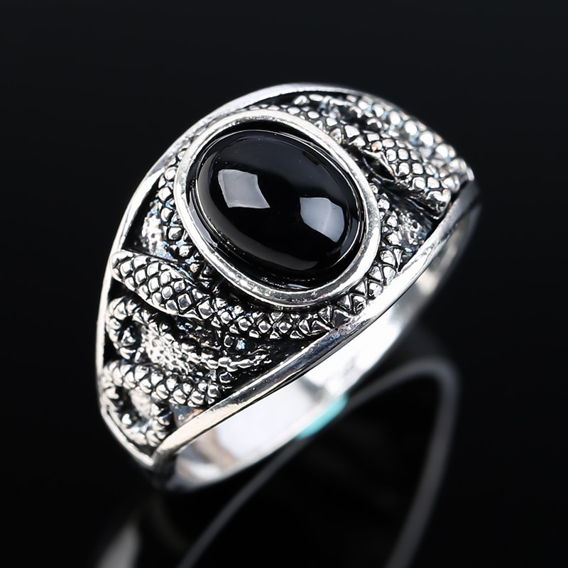 Vintage Black Stone Rings for Men Women Punk Gothic Silver Color Animal Snake Design Chunky Finger Ring Party Charm Jewelry Gift