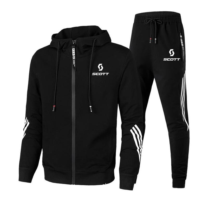 SCOTT Men's Autumn Winter Sets Zipper Hoodie+pants Two Pieces Casual Tracksuit Male Sportswear Gym B