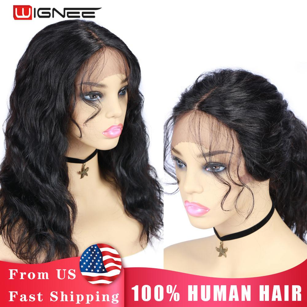 wignee natural wave lace front short human hair wigs for black women 150% density remy hair ombre green pink 613 swiss human wig Wignee Lace Front Human Wigs With Baby Hair For Black Women Remy Brazilian PrePlucked Hairline Natural Wave Short Lace Human Wig