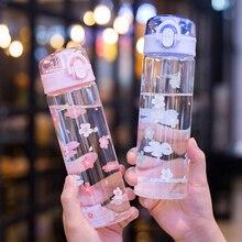 Kawaii Sakura bouteille deau en verre Portable étanche bouteille à boire transparente pour fille voyage Sports rebondissant tasse couvercle bouteilles
