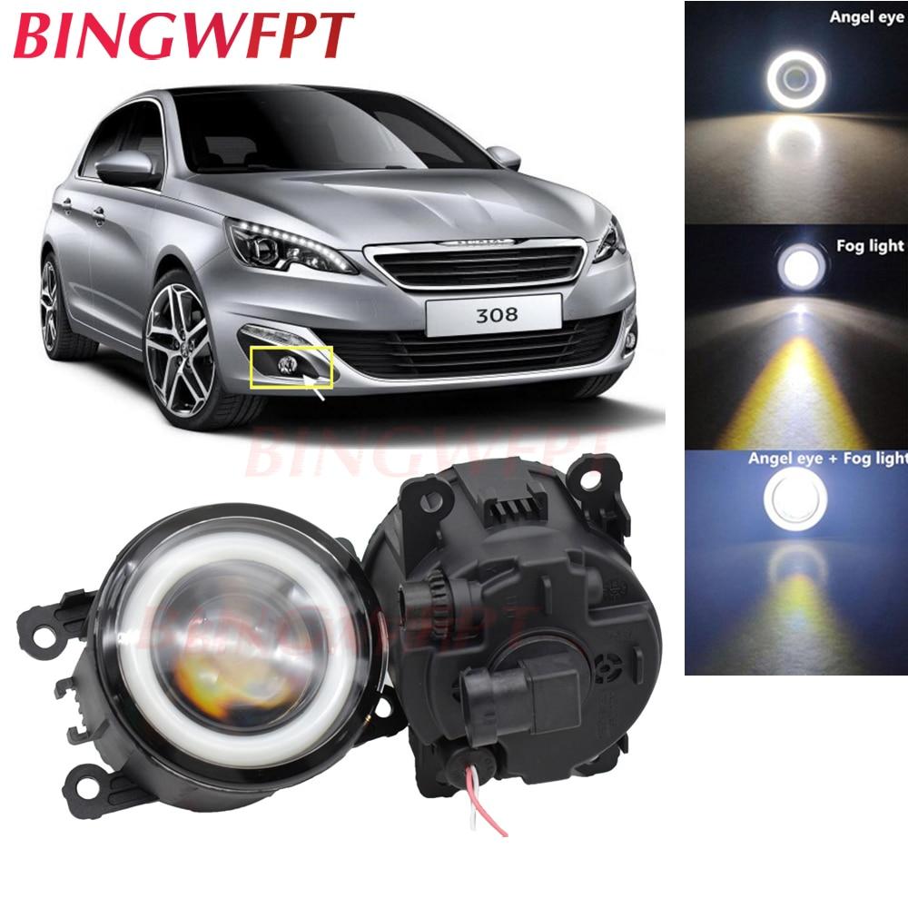 2x de Alta potência H11 LEVOU Nevoeiro Lâmpadas de luz Dos Olhos do Anjo com Vidro len 12V Para Peugeot 308 T9/ 308 SW 2013 2014 2015 2016