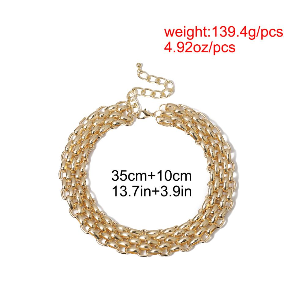 Купить с кэшбэком Exaggerated Unique Big Chunky Chain Choker Necklace Collar Steampunk Men Punk Twisted Lock Thick Iron Necklace for Women Jewelry