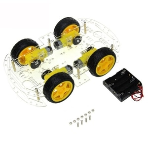 DIY Robot Smart Car Chassis Kit For Arduino Drive Controller Board Stepper Motor Speed Encoder, 4 Wheel And Battery Box