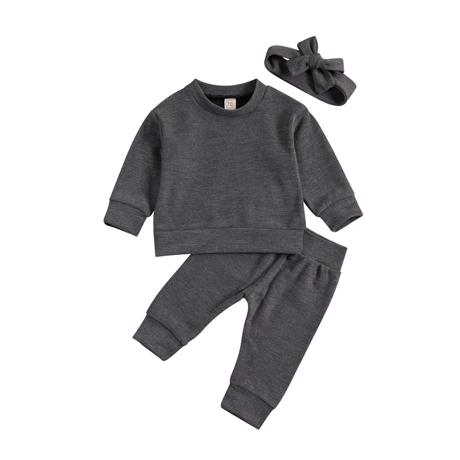 Купить с кэшбэком Toddler Baby Boys Girls Clothes Autumn Newborn Pullover Long Sleeve Tops + Pants + Headband Cotton Soft Baby Tracksuits 0-3Y