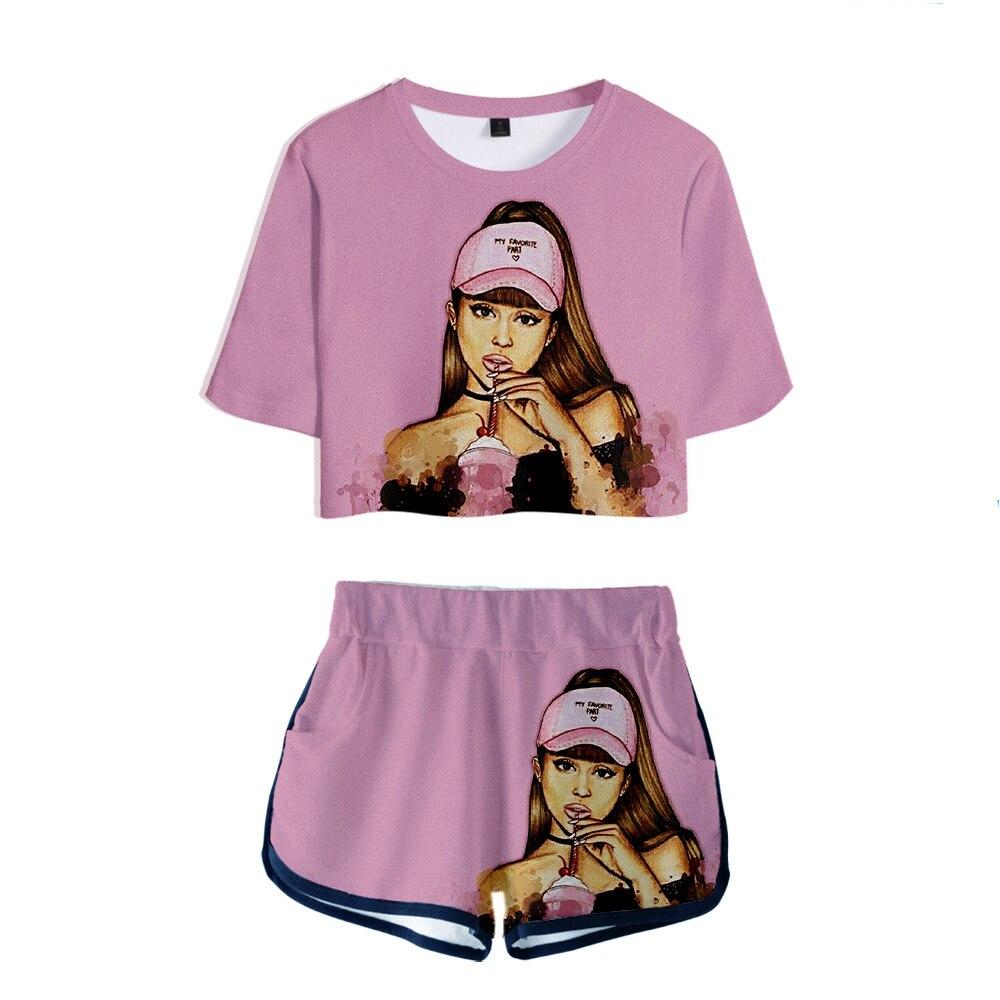 Ariana Grande conjunto de dos piezas pantalones cortos camiseta para mujeres Lovely Sexy Crop tapas moda femenina traje deportivo corto Mini pantalones camiseta