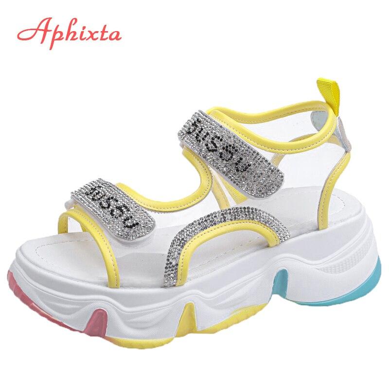 Aphixta luxo cristais transparentes sandálias plataforma sapatos femininos 2020 moda arco-íris único estudantes fundo grosso sandália legal