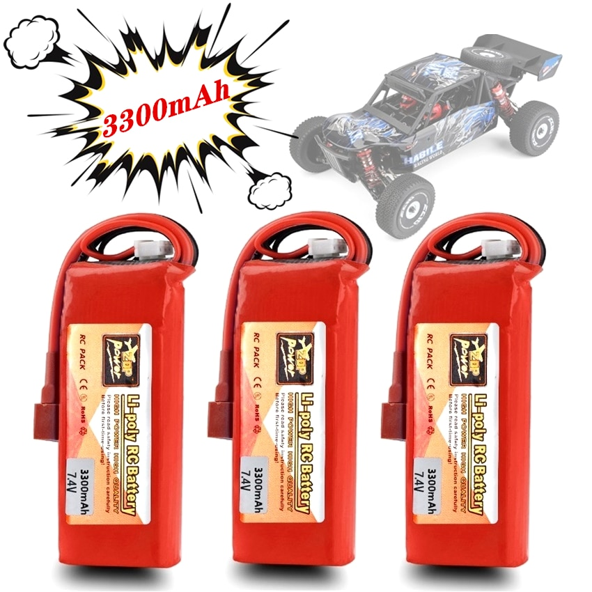 ZOP Upgrade 100% Capacity 3300mAh 7.4V Lipo Battery 2S for Wltoys 144001 124018 124019 RC Car Truck