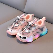 LED Fashion Children & Toddler Shoes Breathable Baby Girls & Boys Air Mesh Soft Bottom Little Kids S