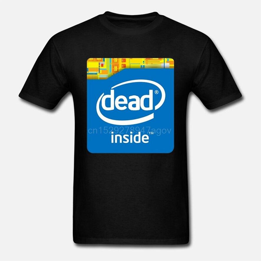 Intel Dead Inside Meme, Мужская одежда, футболки, короткий рукав, круглый вырез, футболка, акция, Свободный Топ, футболка