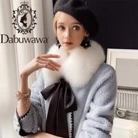 dabuwawa elegant solid double breasted women wool fur coat fox collar soft winter warm bow skirt long jacket ladies dt1dfr019