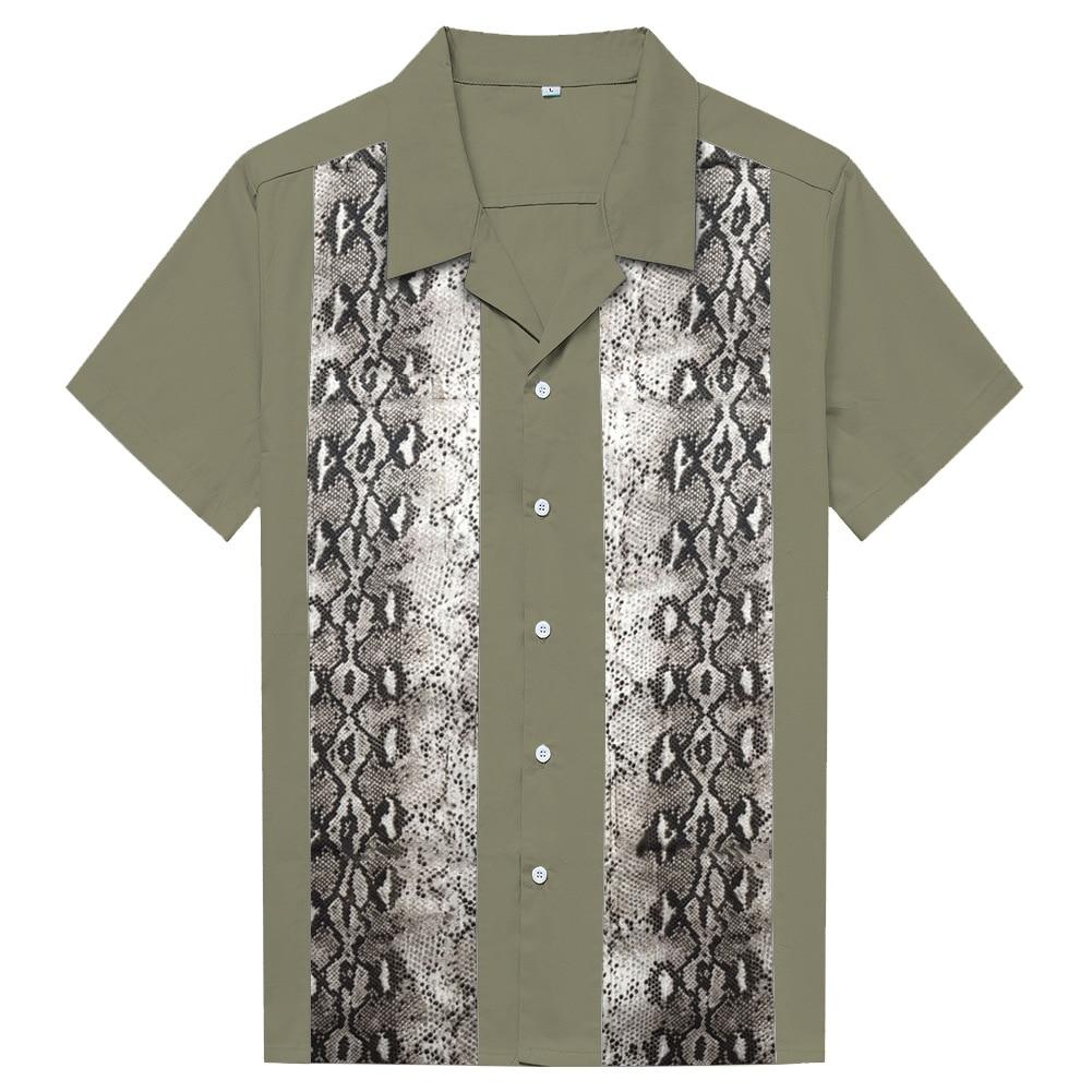 الصيف محب ثعبان طباعة المرقعة الرجال تي شيرتات قطن واحدة الصدر ريترو الجيش الأخضر قصيرة الأكمام قميص عادية فضفاض القمم