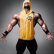 Men's Muscle Hooded Vest Sleeveless Fitness Gym Workout Fitness Shirt Vest Top Men