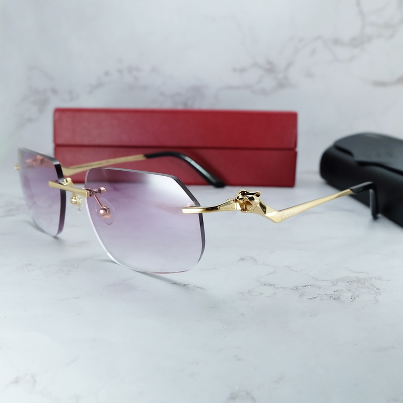 Polygon Sunglasses Men Decoration Rimless Carter Panther Stylish Sunglass Vintage Shades Eyewear Ret