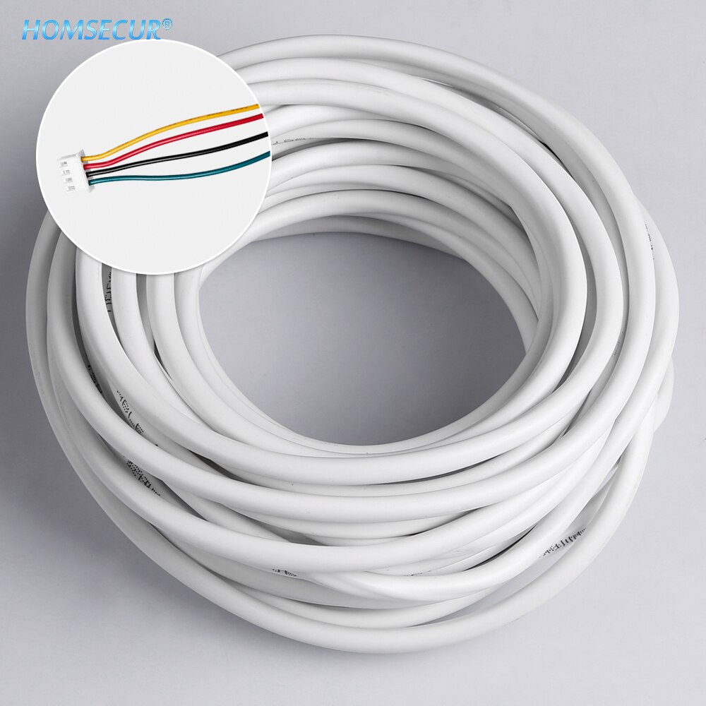 HOMSECUR 10M 15M 20M 25M RVV4 * 0,30 4 cables Cable de cobre para Video intercomunicador Color puerta teléfono timbre cableado intercomunicador sistema