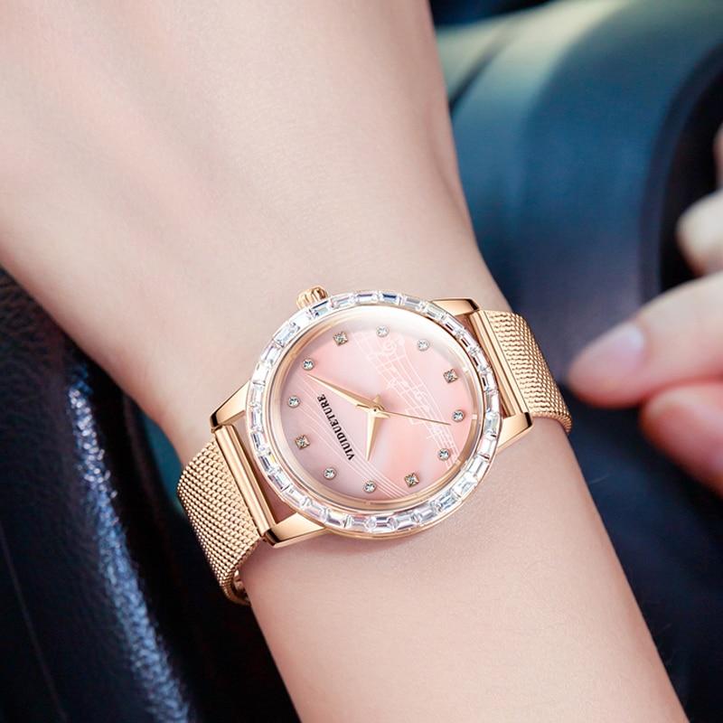 New Fashion Genuine Music Symbol Women's Watch Pearl Shell Quartz High-end Watch Diamond Steel Band Waterproof Women's Watch enlarge