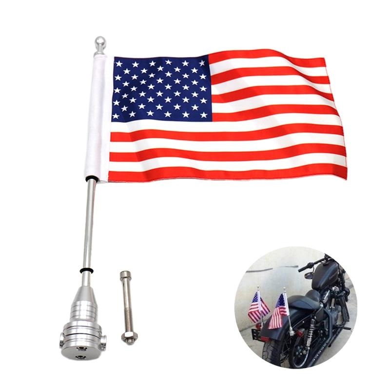 1 pieza negro/plata polo bandera de montaje americano EE. UU./Reino Unido motocicleta Motocross Bandera de equipaje