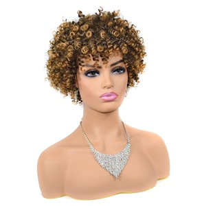 ZM Loose Curly Wigs For Black Women With Free Gift Cheap Price High Quality Machine Made Heat Resistant Hair Short Synthetic Wig