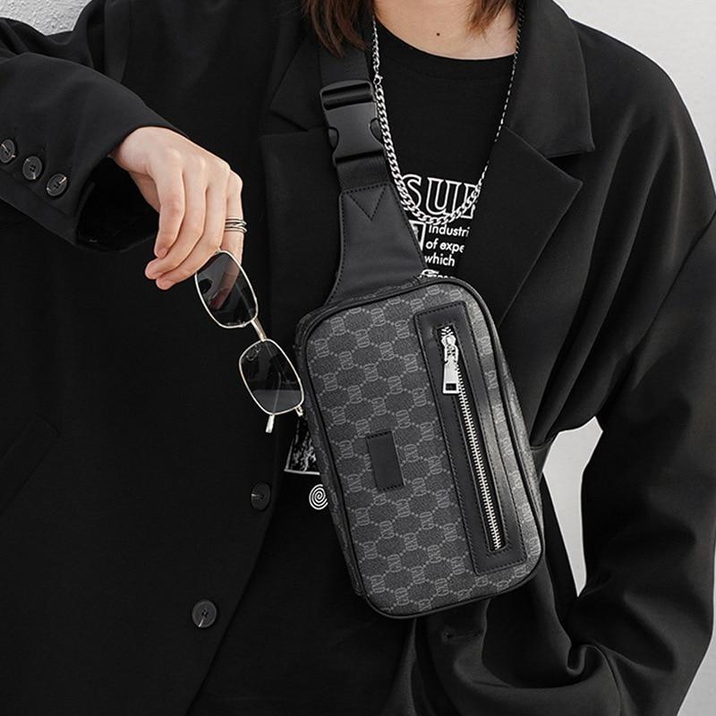 Новая модная мужская сумка, роскошная брендовая дизайнерская нагрудная сумка на одно плечо, кожаная мужская нагрудная сумка через плечо, ул...